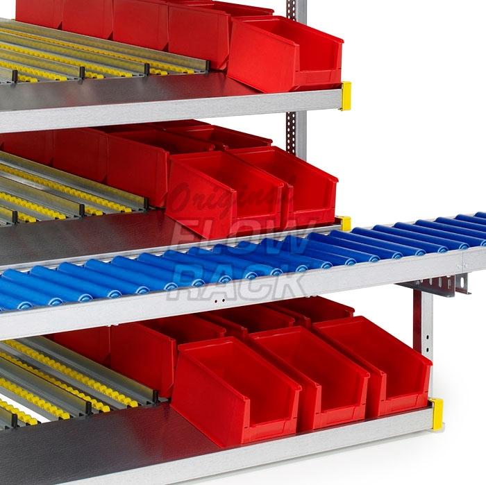 Durchlaufregal mit Rollenbahn und 4 Ebenen